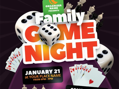 Game Night Flyer Template sunday poster pamphlet night invitation game flyer family dice board ad