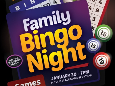 Bingo Night Flyer Template team pamphlet online night game fundraiser flyer family card bingo-night bingo ad