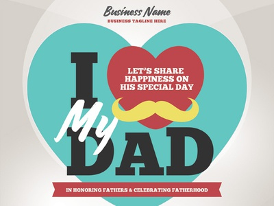 Father's Day Flyer Templates invitation heart poster ads ad flyer man love celebration brunch party night day father mother fathers day