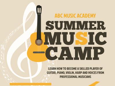 Summer Music Camp Flyer Templates training summer school poster musician music lesson kids flyer clinic children camp ad