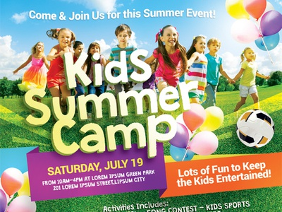 Kids Summer Camp Flyer Vol.03 summer sport photoshop pamphlet kid holiday flyer day course class child camp adventure ad activity