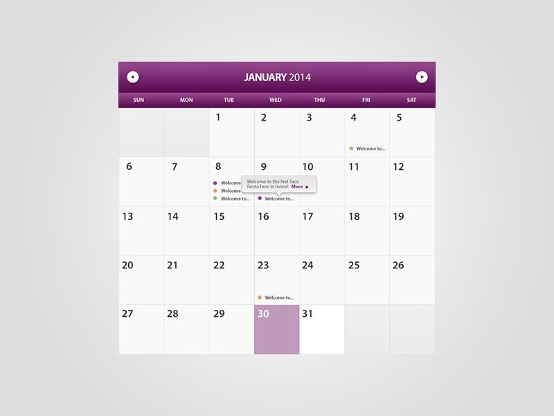 Calendar Widget calendar widget purple clean minimal light ui design