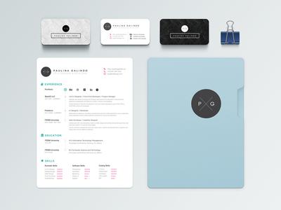 My Branding: Business Cards and Résume branding design print resume cv folder skills experience digital