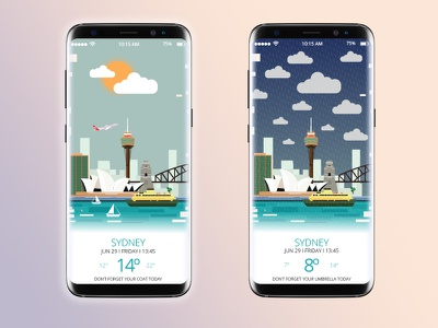 Animated Weather App sydney s8 android mobile animation design ui