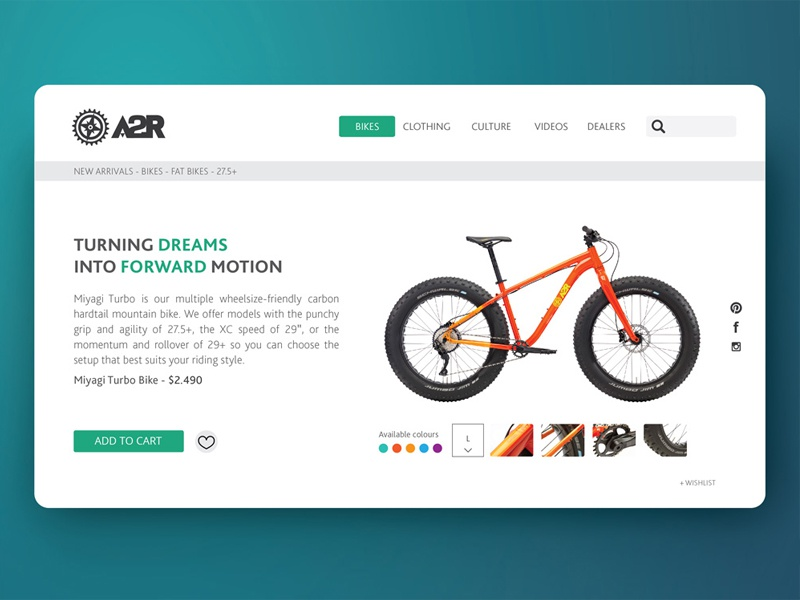 Bike store bicycle interface ui
