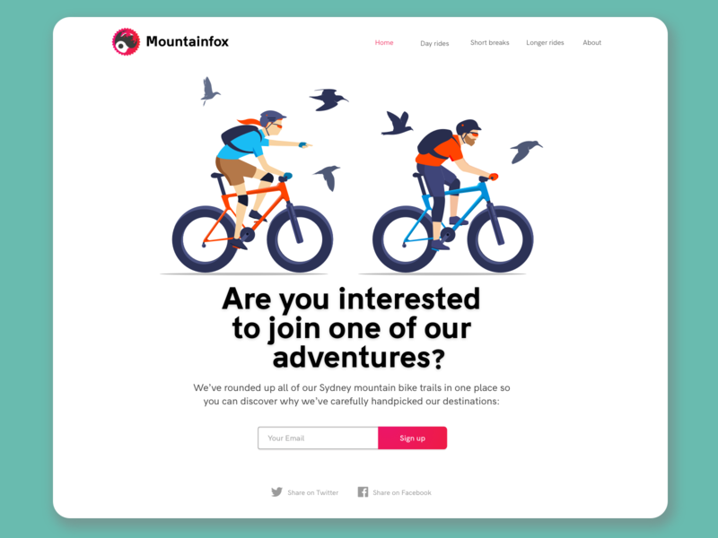 Bicycle Tours - Above the fold character design sketch illustrator design vector illustration bicycle ui interface