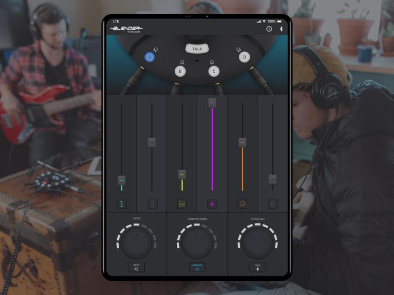Blender Mobile App 3d skeuomorphic slider ipad pro app mobile interface button sound ios dark knob fader ux ui ipad audio mixer
