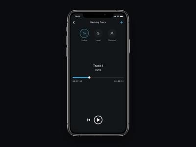 Audio Level Expanding Button Interaction iphonexs expanding interaction design button slider framer x motion design ui animation ios dark app audio mobile interface