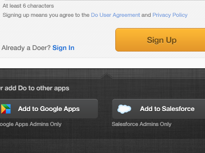 Sign Up! form sign up salesforce google facebook buttons