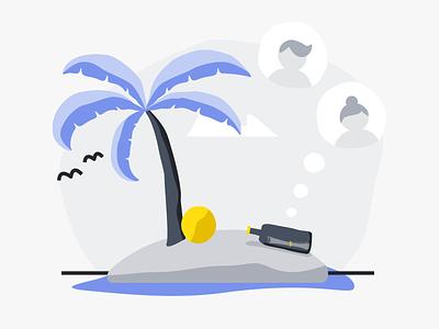 Refer A Friend island referral empty state design ui illustration