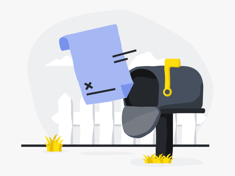 Contract Sent mailbox sent contract ui illustration empty state design