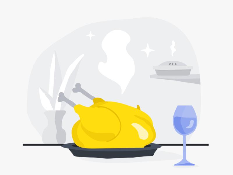 Thanksgiving dinner food pie wine turkey thanksgiving doodle holiday ui design