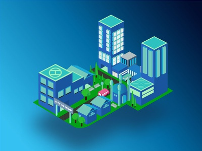 Floating Island futuristic city floating design isometric illustration