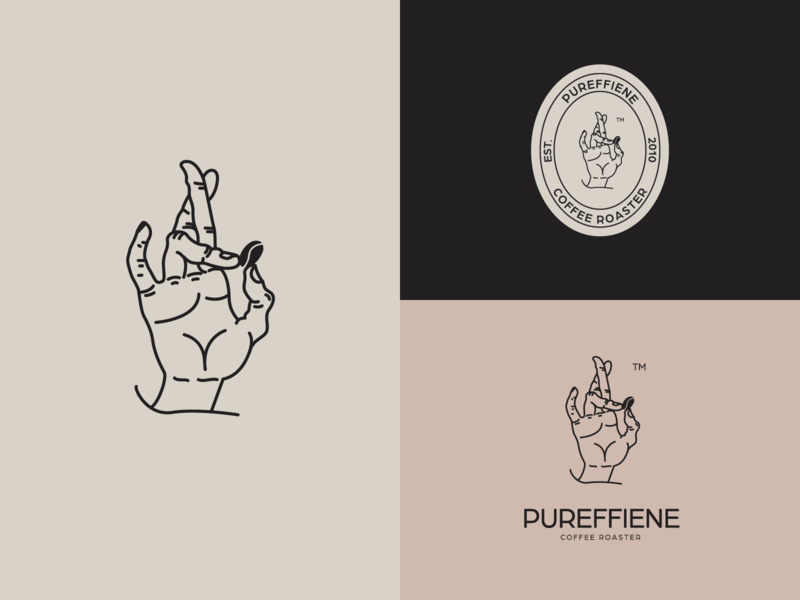 Pureffiene Coffe Roaster Logo. concept coffee aesthetic design aesthetic good life good luck coffee logo cafe logo café coffee roaster coffee shop coffee bean coffeeshop vector illustration food and beverage logo design graphic design branding logo