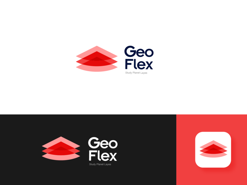 GeoFlex Education Platform Logo Design. technology abstract science learning platform layered logo layer style gradient geography education logo education app mobile app education geology transparent red vector graphic design logo design logo branding