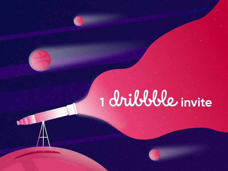 1 Dribbble Invite branding asteroid comet telescope stars planets space candy pink purple invite dribbble invitation dribbble