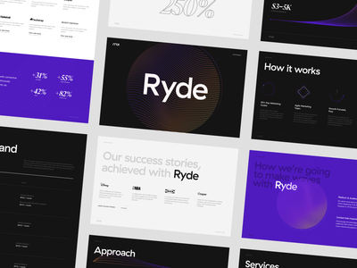 Ryde program lines gradient displace dark futuristic wave icon guidelines typography layout slides marketing collateral minimal graphic design design branding bold typography