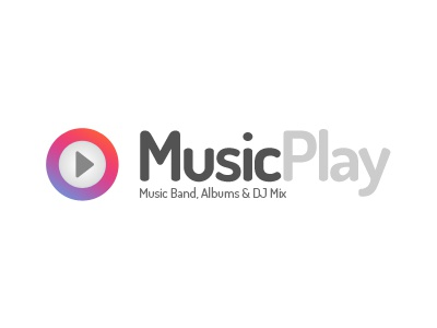 MusicPlay Logo music player band dj events blog minimal flat logo play