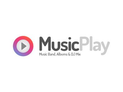 MusicPlay Logo music player band dj events blog minimal flat logo play