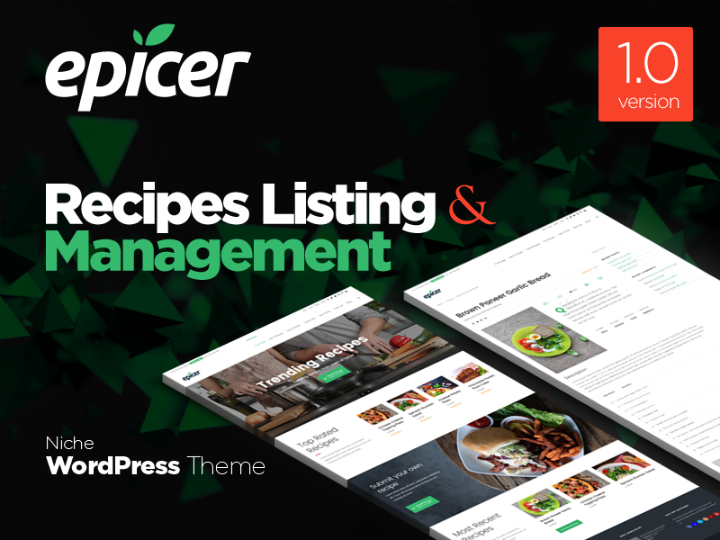 Epicer Recipes Listing WordPress Theme Promo screen theme wordpress promo listing recipe