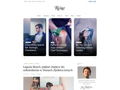 Reino Frontpage sociables minimal blog header owl carousel widget sidebar post blogpost magazine blog homepage frontpage slider