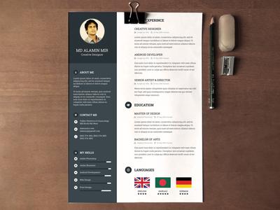 Resume Design resume cv alamin mir noksha creative dark blue