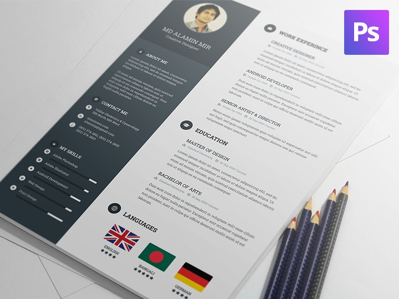 Free Resume Template By Al Amin Mir Dribbble Dribbble