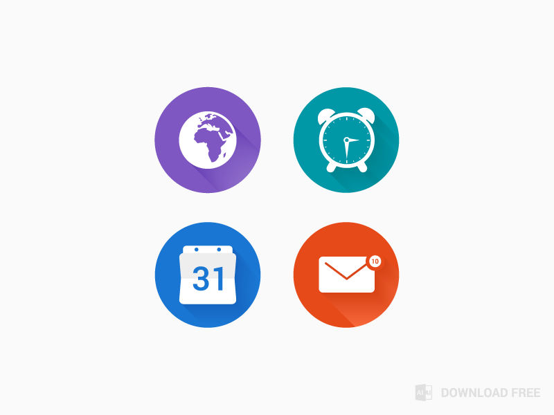 Free flat icon flat icon free illustrator alaminmir creativemine blue orange globe clock calendar envelope