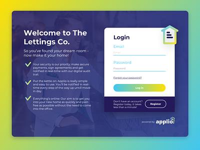 Applio Log in web ui design app