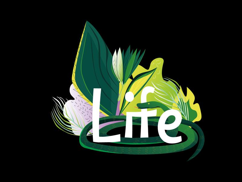 life life color green design vector illustration 2d adobe illustrator