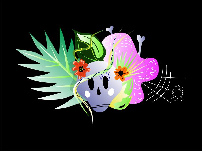 Poster life-death 2d vector illustration adobe illustrator