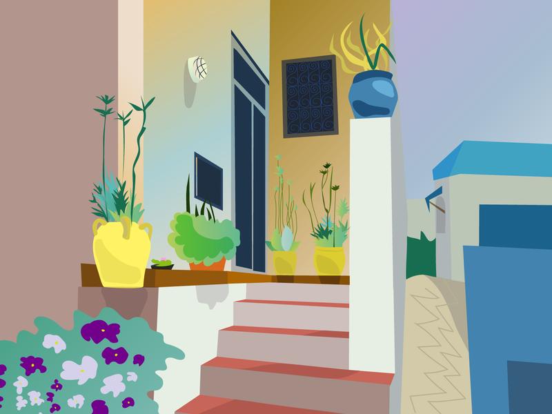 Tunisia garden tunisia flowers 2d garden vector illustration adobe illustrator
