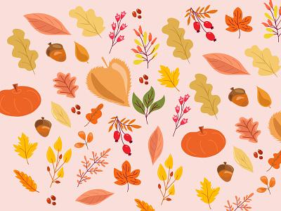 Autumn vibes flat vibes autumn 2d illustration adobe illustrator