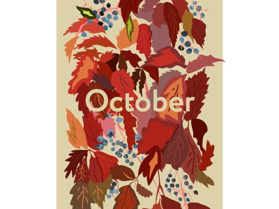 October autumn october vector illustration 2d adobe illustrator