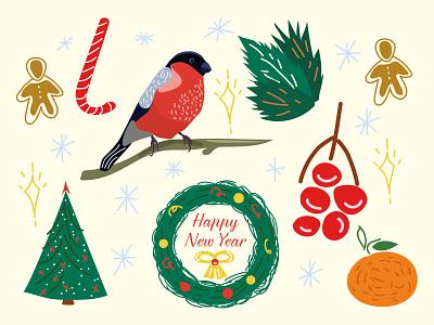 NY pattern new year 2d illustration vector adobe illustrator