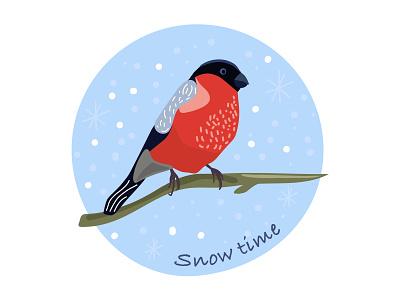 Snow time bullfinch snow 2d illustration vector adobe illustrator