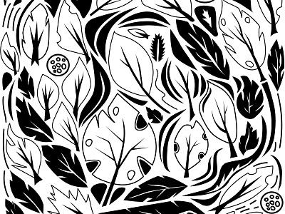 Pattern black monstera pattern 2d illustration vector adobe illustrator