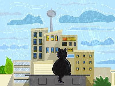 Rain in Berlin rain berlin cat city vector illustration adobe illustrator