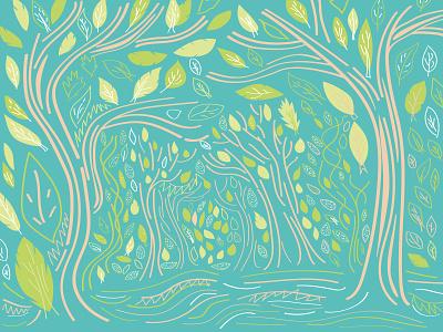 Spring forest pattern spring forest illustration vector adobe illustrator