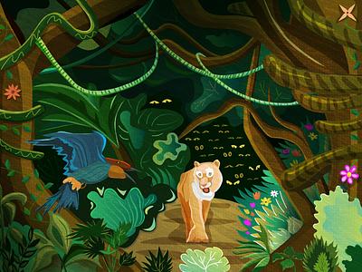 Jungle tiger jungle illustration vector adobe illustrator