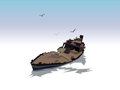 Chehov village islands sea vector 2d illustration adobe illustrator