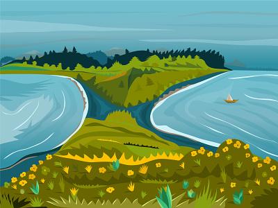 Eustathia bay sea 2d illustration vector adobe illustrator
