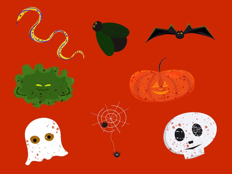 Spooky stickers pumkin spooky halloween stickers illustration vector telegram adobe illustrator