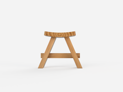 Japanese Stool 1/2 wood japanese stool 3d fusion 360