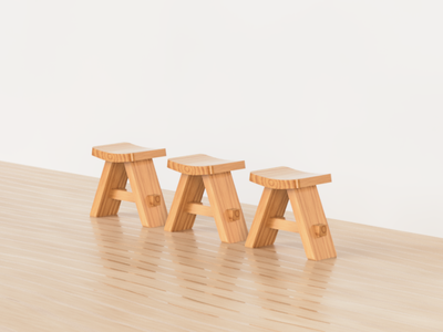 Japanese Stool 2/2 stool wood japanese fusion 360
