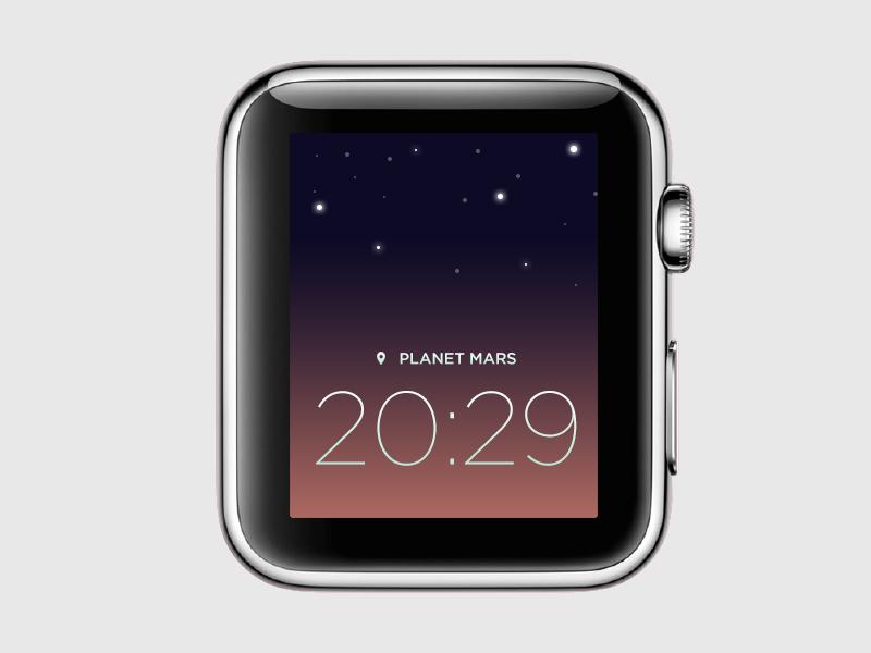 Watch - Clock Face 2d app design clock watch apple watch space theme mars color