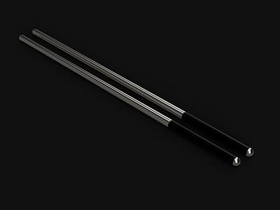 Reusable Chopsticks fusion360 black steel material sushi food chopsticks industrial 3d