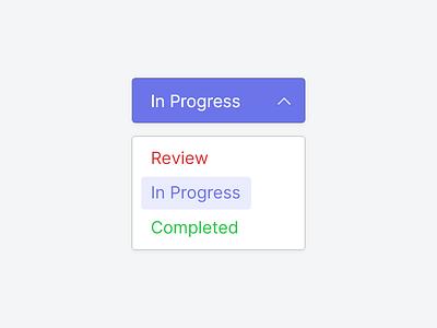 Task Status Update drop down productivity task blue flat app 2d