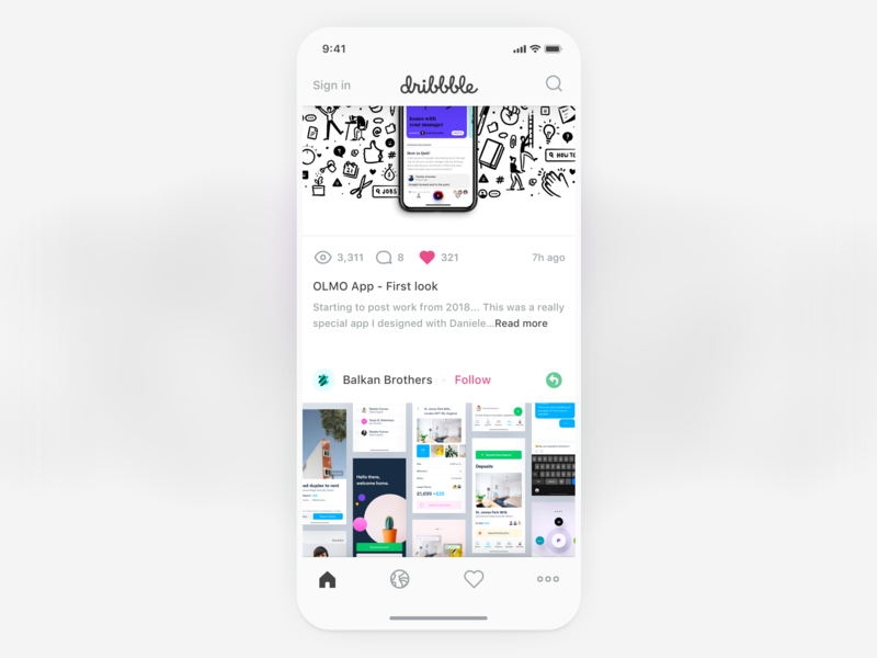 Dribbble App Redesign home dribbble icon flat white ux ui app ios