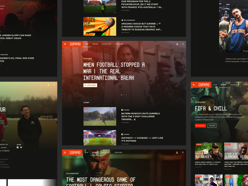COPA90 Website Redesign shows fans homepage football design landing website ux ui